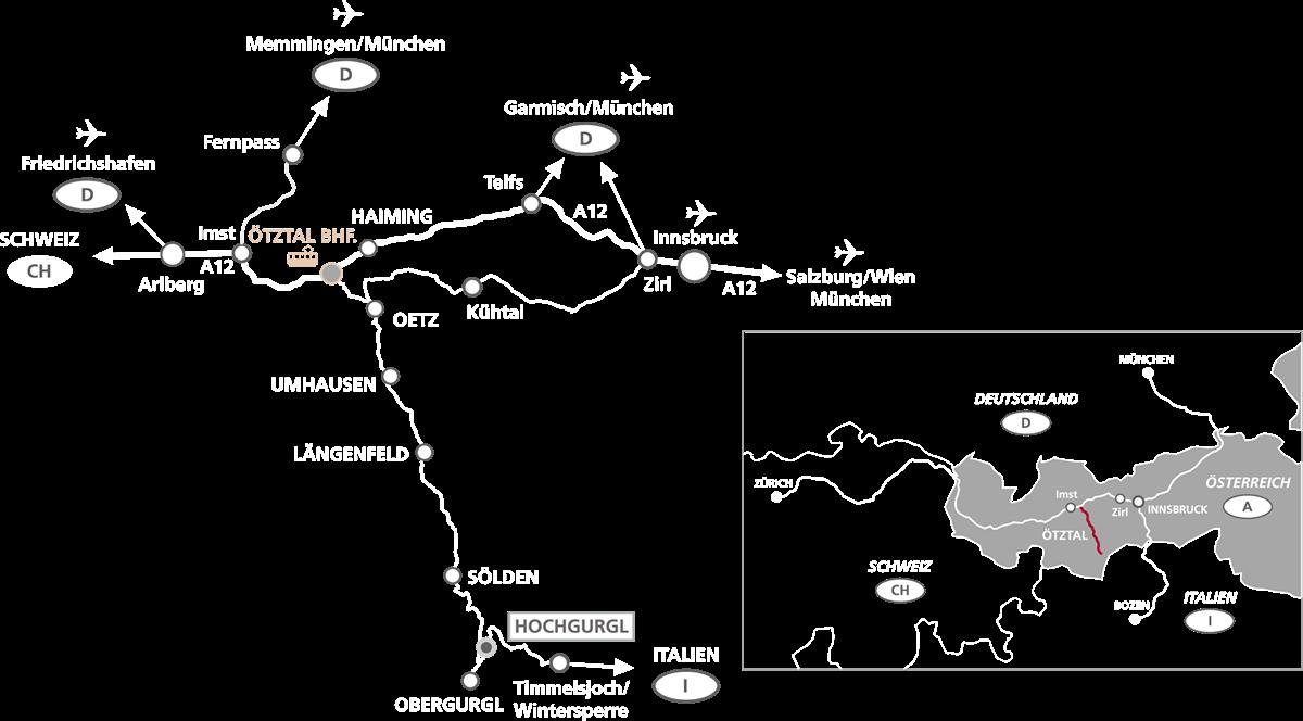 Getting Here Hochgurgl · Ötztal Valley · Tyrol · Austria